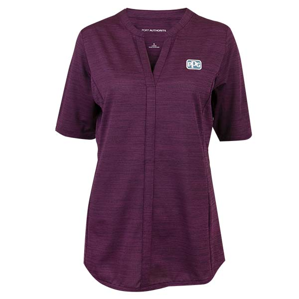 Ladies Stretch Heather Open Neck Top Image